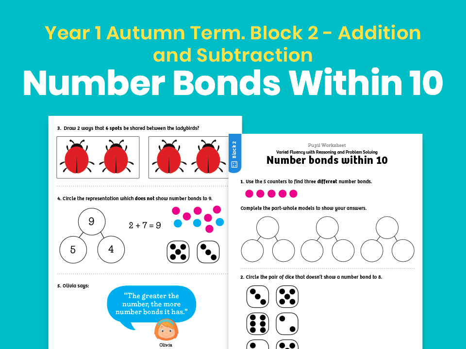 Y1 Autumn Term – Block 2: Number bonds within 10 maths worksheets