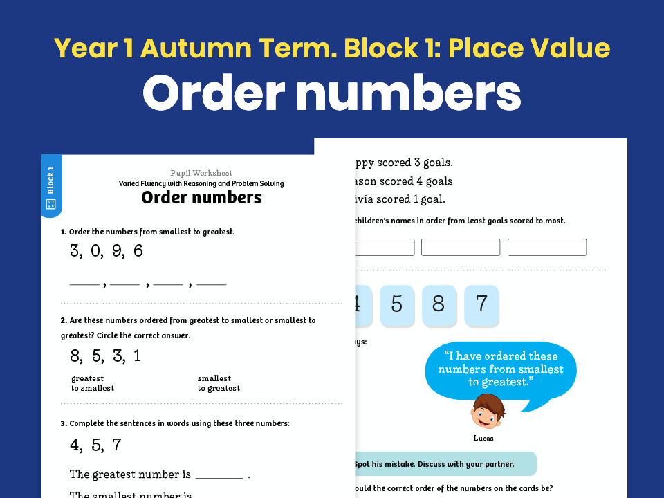 Y1 Autumn Term – Block 1: Order numbers maths worksheets