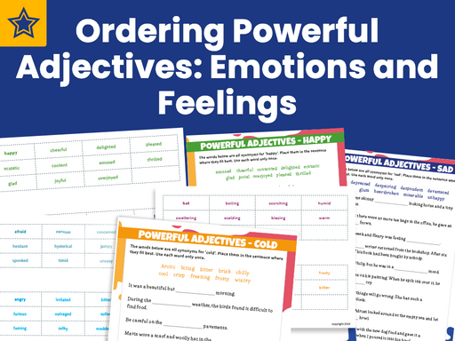 Ordering Adjectives Synonyms Emotions and Feelings