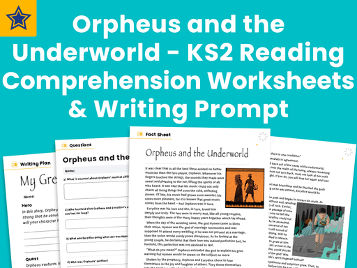 Orpheus and the Underworld - KS2 Reading Comprehension Worksheets And Writing Prompt - Greek Myths