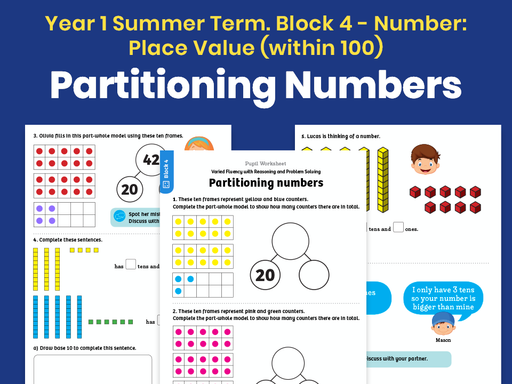 Y1 Summer Term – Block 4: Partitioning numbers maths worksheets