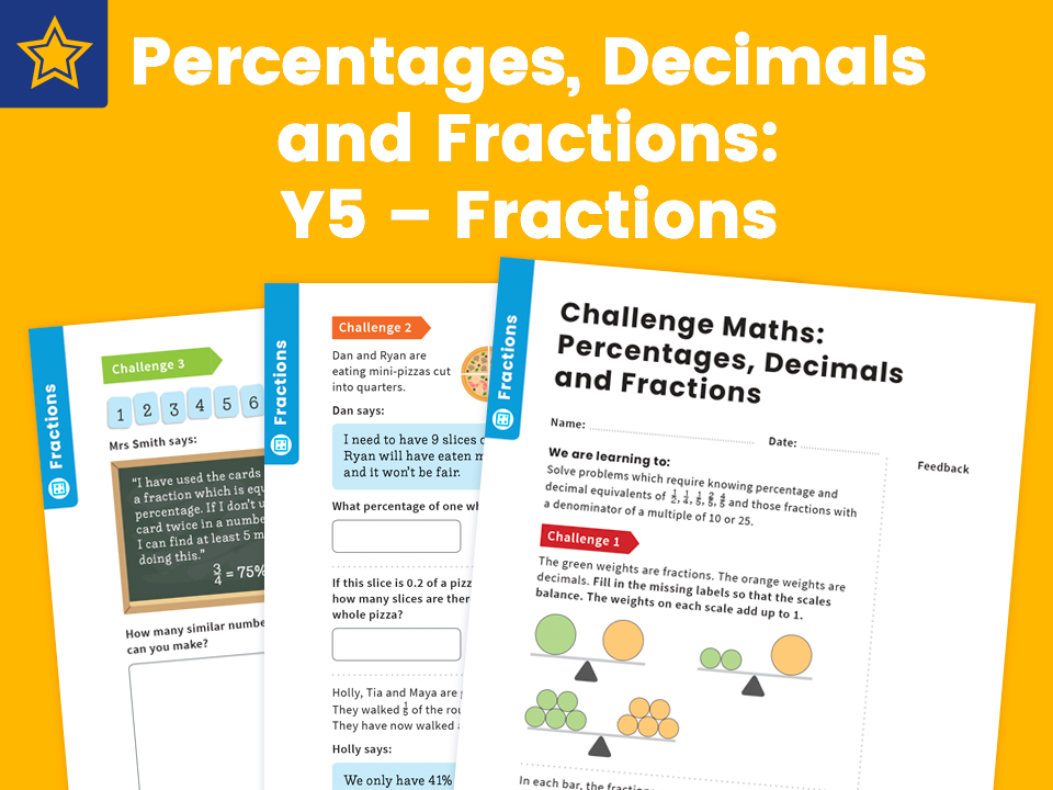 Percentages, Decimals and Fractions: Y5 – Fractions – Maths Challenge
