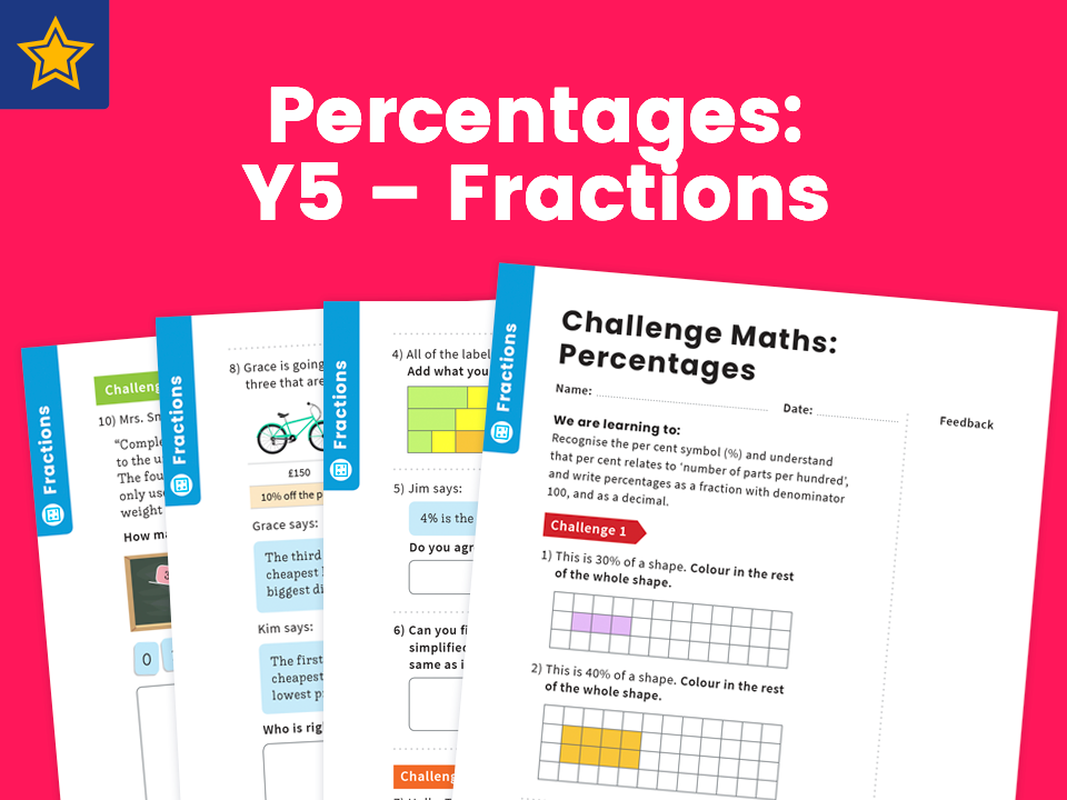 Percentages: Y5 – Fractions – Maths Challenge