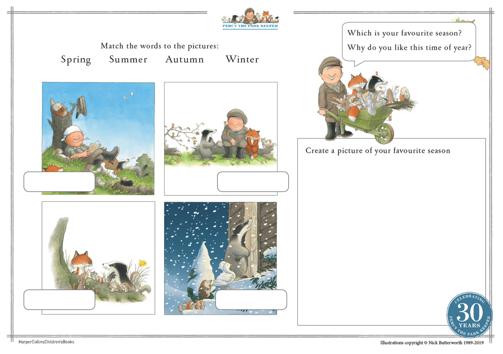 Percy the Park Keeper Seasons Wall Display – EY/KS1 English Resource Reading and Writing Pack