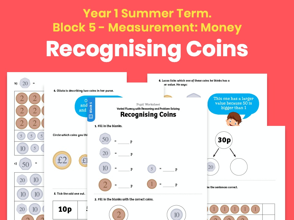 Y1 Summer Term – Block 5: Recognising coins maths worksheets