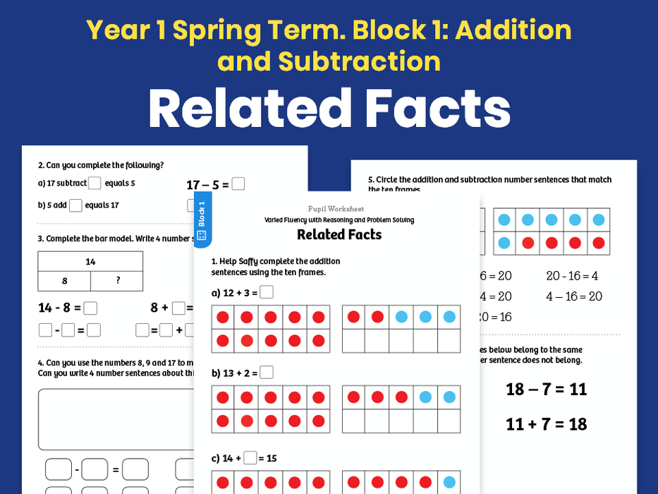 Y1 Spring Term – Block 1: Related Facts maths worksheets