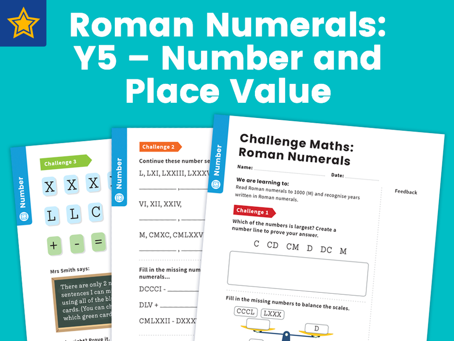 Roman Numerals: Y5 – Number and Place Value – Maths Challenge