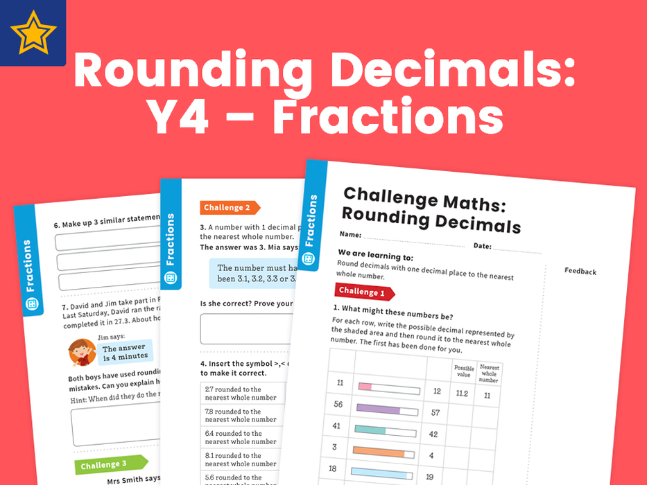 Rounding Decimals: Y4 – Fractions – Maths Challenge