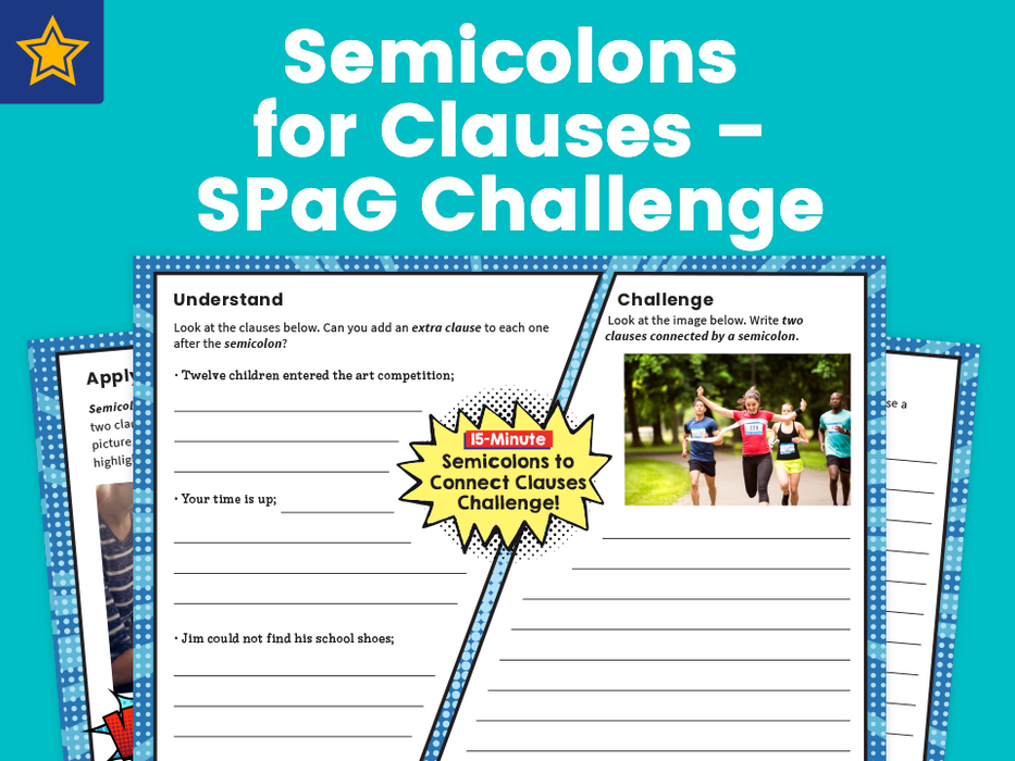 Semicolons for Clauses – SPaG Challenge Mat