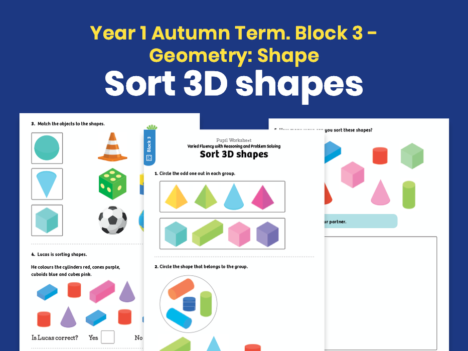Y1 Autumn Term – Block 3: Sort 3D shapes maths worksheets