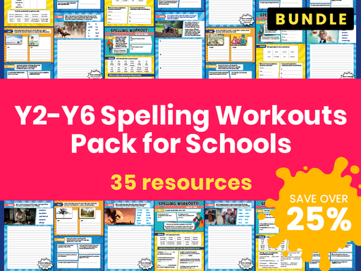 Y2-Y6 Spelling Workouts Resource Pack for Schools