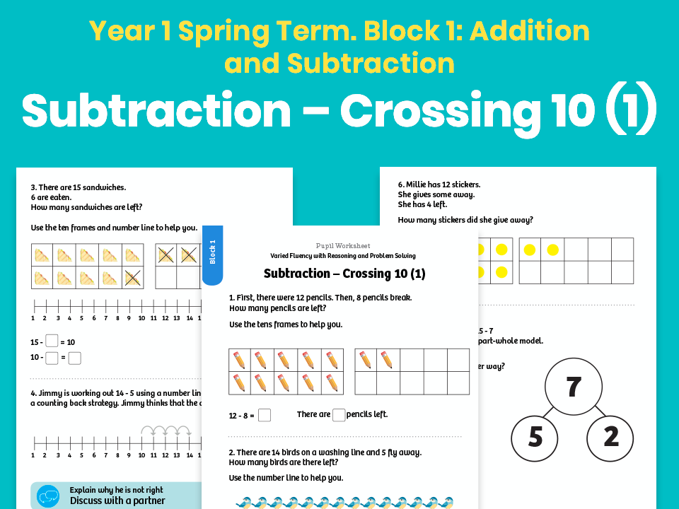 Y1 Spring Term – Block 1: Subtraction – Crossing 10 (1) maths worksheets