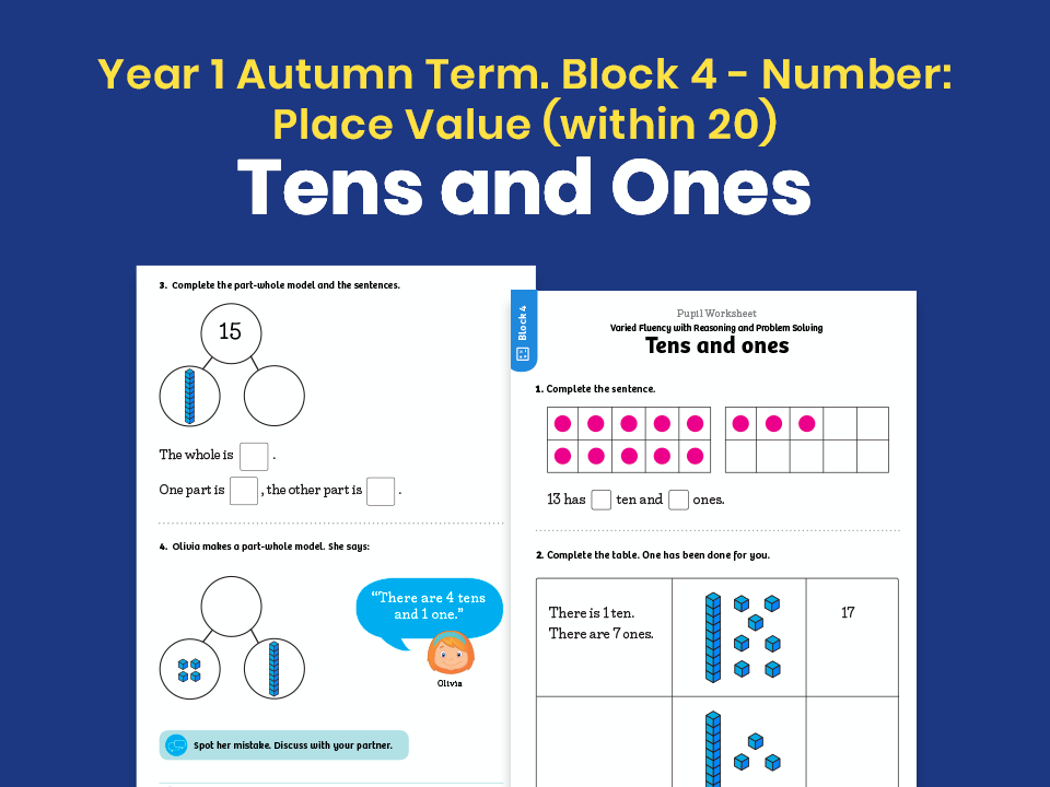 Y1 Autumn Term – Block 4: Tens and ones maths worksheets