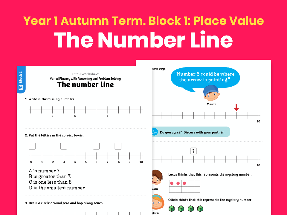 Y1 Autumn Term – Block 1: The number line maths worksheets