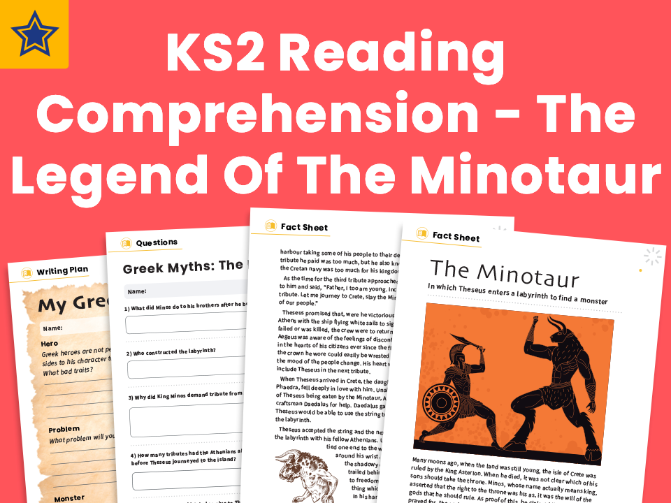 The Legend Of The Minotaur - KS2 Reading Comprehension Worksheets And Writing Prompt - Greek Myths