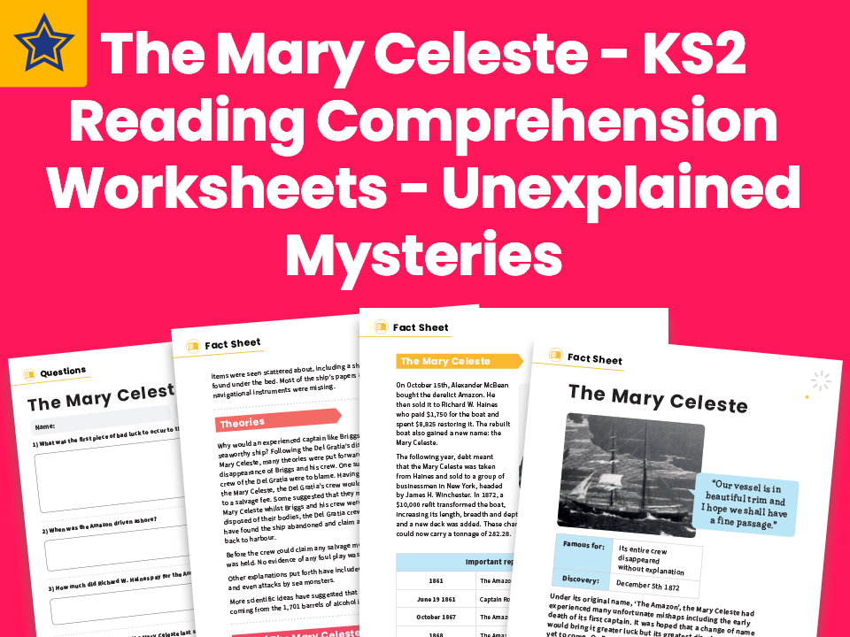 The Mary Celeste – KS2 Reading Comprehension Worksheets - Unexplained Mysteries