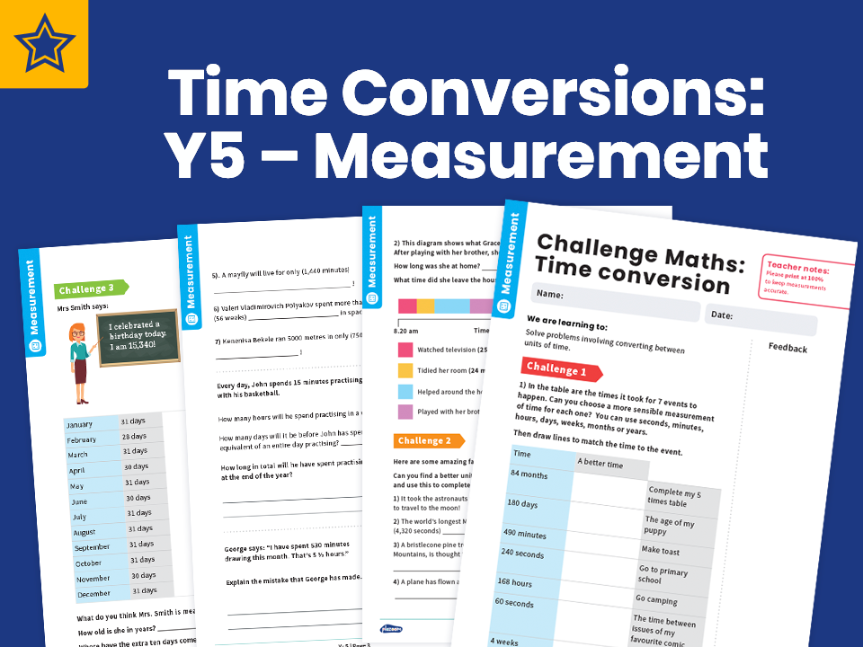 Time Conversions: Y5 – Measurement – Maths Challenge