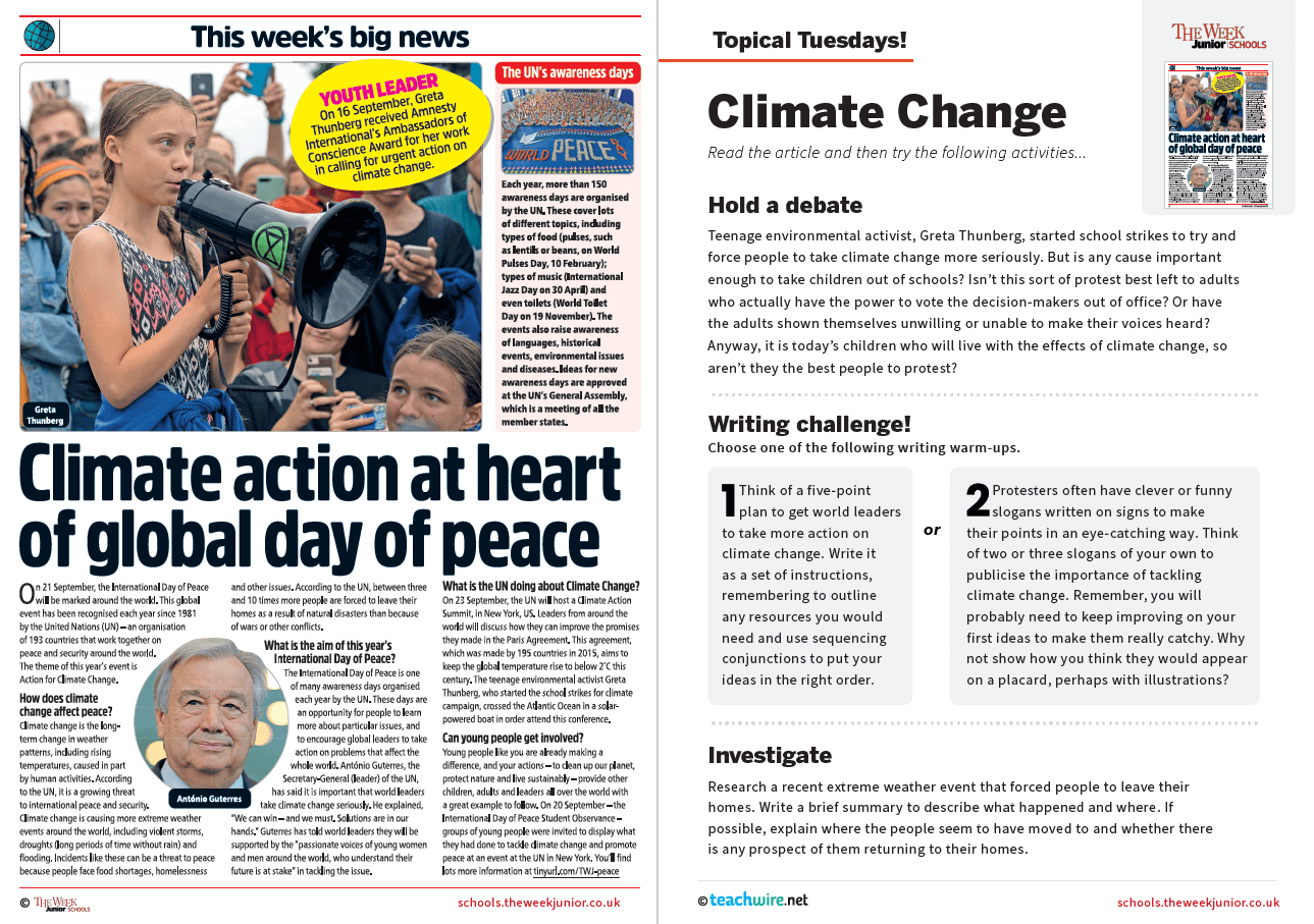 Topical Tuesdays from The Week Junior – Greta Thunberg and Climate Action