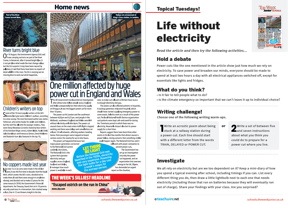Topical Tuesdays from The Week Junior – Life Without Electricity Science Resource