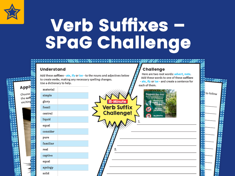 Verb Suffixes – SPaG Challenge Mat