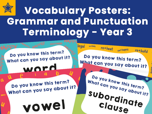 Vocabulary Posters: Grammar and Punctuation Terminology - Year 3