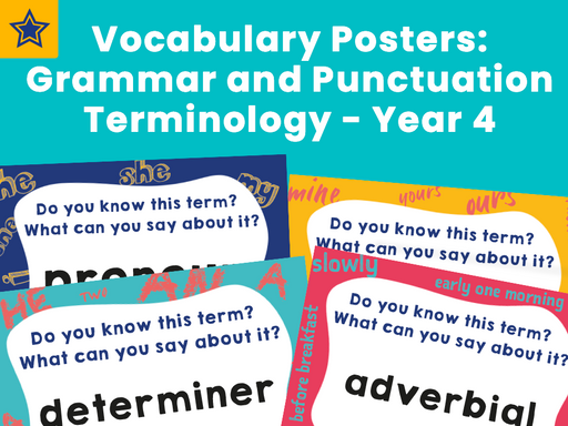 Vocabulary Posters: Grammar and Punctuation Terminology - Year 4