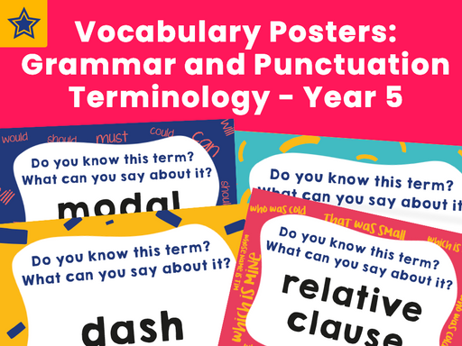 Vocabulary Posters: Grammar and Punctuation Terminology - Year 5