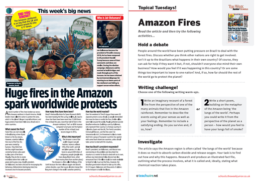Topical Tuesdays from The Week Junior – Amazon Fires