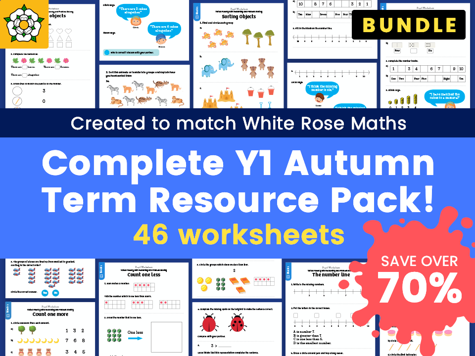 Complete Year 1 Autumn Term Resource Pack – Created to match White Rose Maths