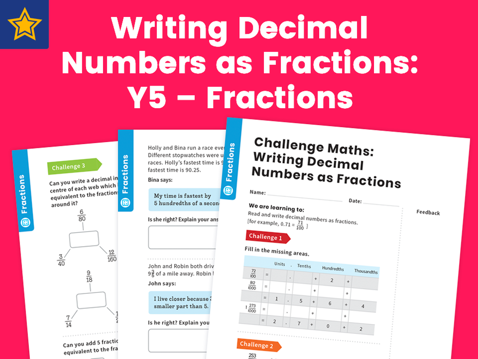 Writing Decimal Numbers as Fractions: Y5 – Fractions – Maths Challenge