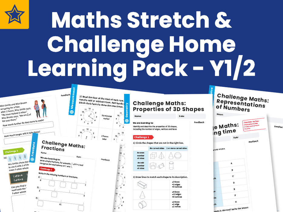 Maths Stretch & Challenge Home Learning Pack - Y1/2