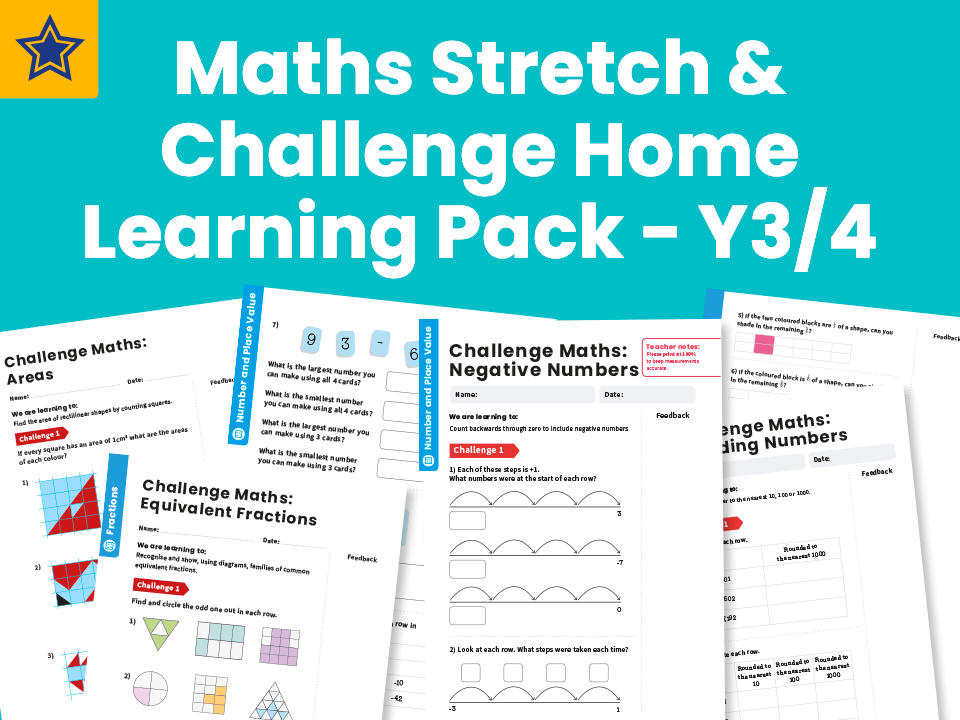Maths Stretch & Challenge Home Learning Pack - Y3/4