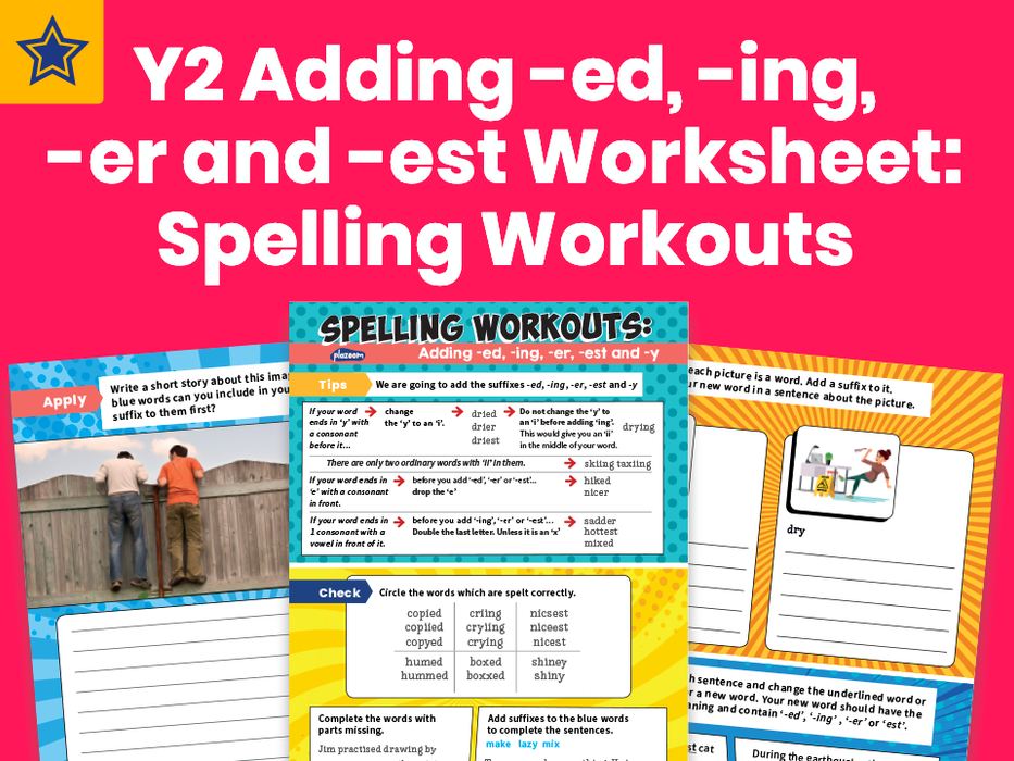Year 2 Adding -ed, -ing, -er And -est Worksheet: Spelling Workouts