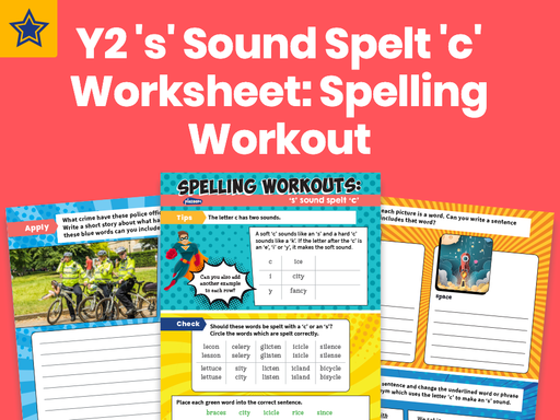 Year 2 's' Sound Spelt 'c' Worksheet: Spelling Workout
