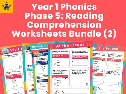 Year 1 Phonics Phase 5: Reading Comprehension Worksheets Bundle (2)