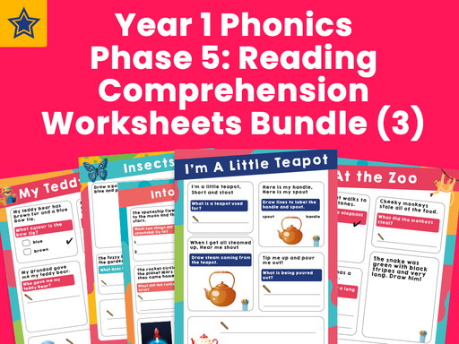 Year 1 Phonics Phase 5: Reading Comprehension Worksheets Bundle (3)