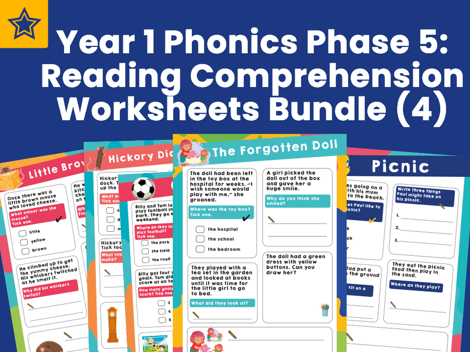 Year 1 Phonics Phase 5 Reading Comprehension Worksheets Bundle (4)