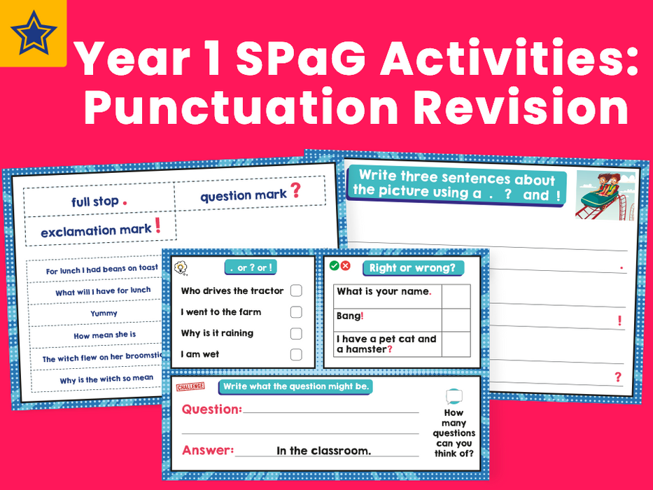 Year 1 SPaG Activities: Punctuation Revision