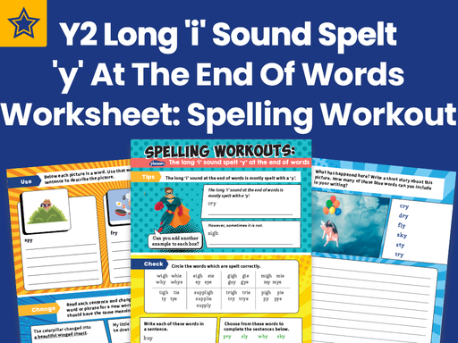Year 2 Long 'i' Sound Spelt 'y' At The End Of Words Worksheet: Spelling Workout