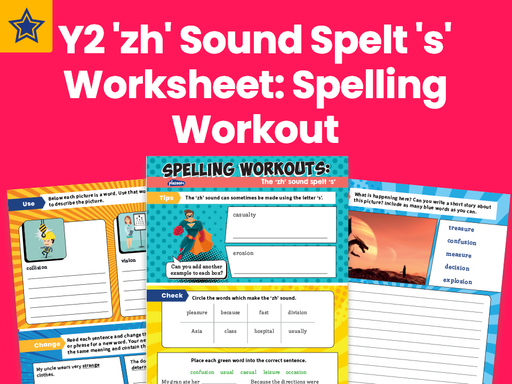 Year 2 'zh' Sound Spelt 's' Worksheet: Spelling Workout