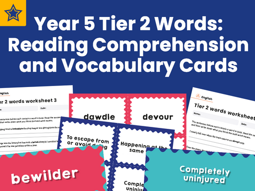 Year 5 Tier 2 Words: Reading Comprehension and Vocabulary Cards