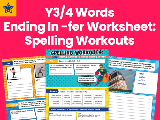 Years 3 and 4 Words Ending In -fer Worksheet Spelling Workouts