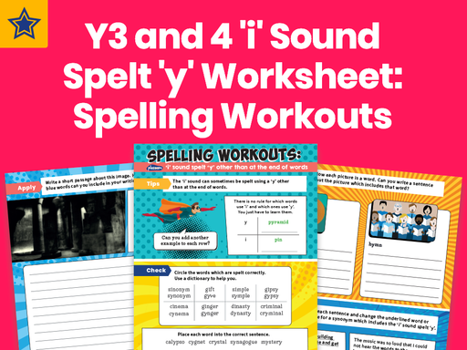 Years 3 And 4 'i' Sound Spelt 'y' Worksheet: Spelling Workouts