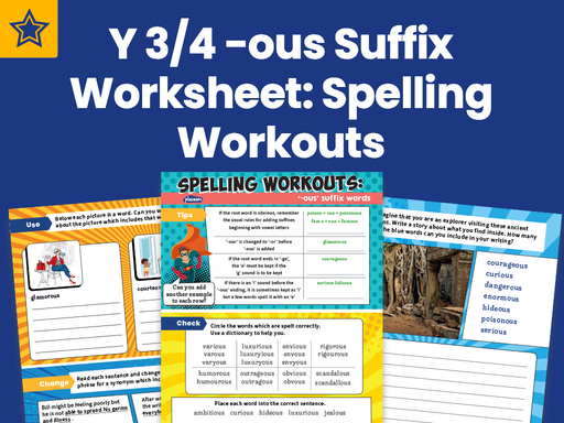 Years 3 And 4 -ous Suffix Worksheet: Spelling Workouts