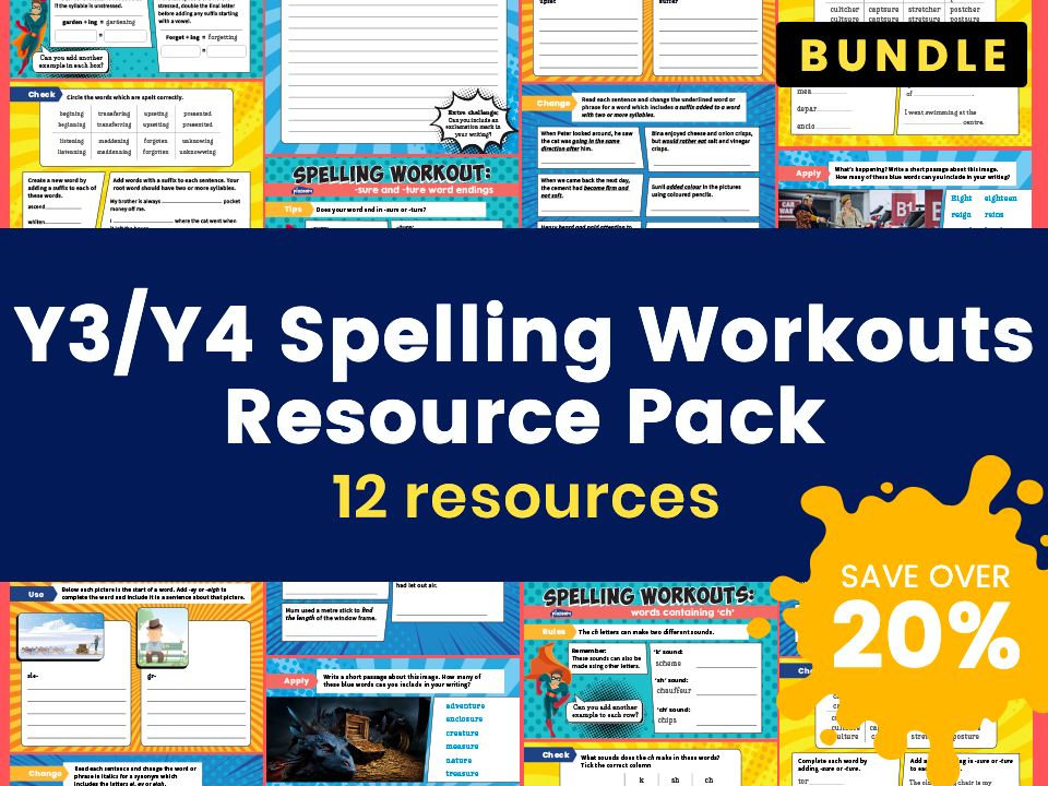 Y3/Y4 Spelling Workouts Resource Pack