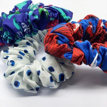Load image into Gallery viewer, Emma's scrunchie blue dots accessory The Extra Smile