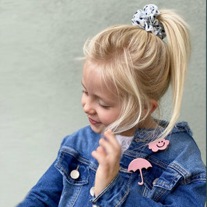 Emma's scrunchie blue dots accessory The Extra Smile