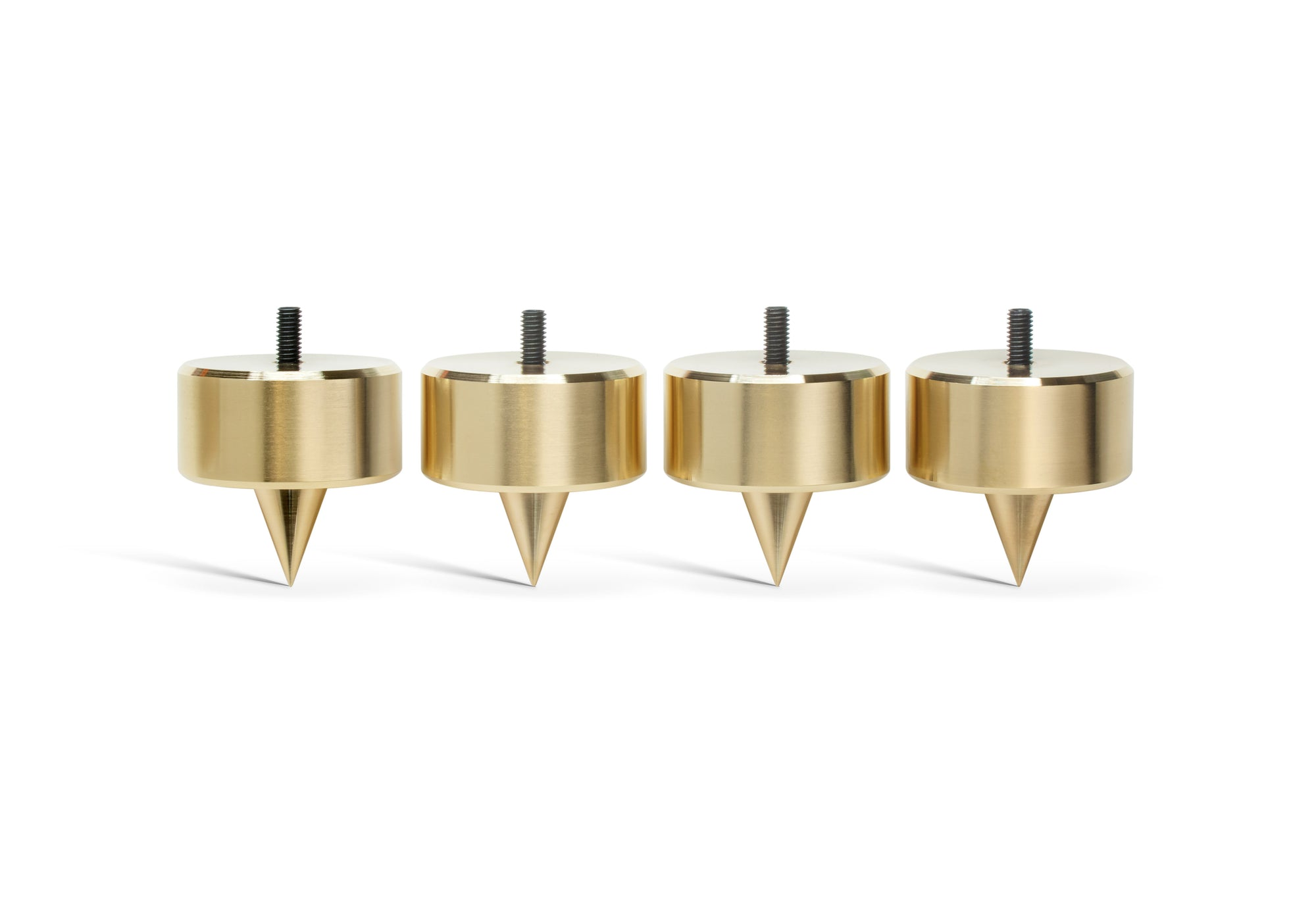 "PUREPOINT® BRASS FOOTERS 2"" DIA X 2"" TALL W/ M6-1 THREADED STUD - FOR CARPET (SET OF 4)"