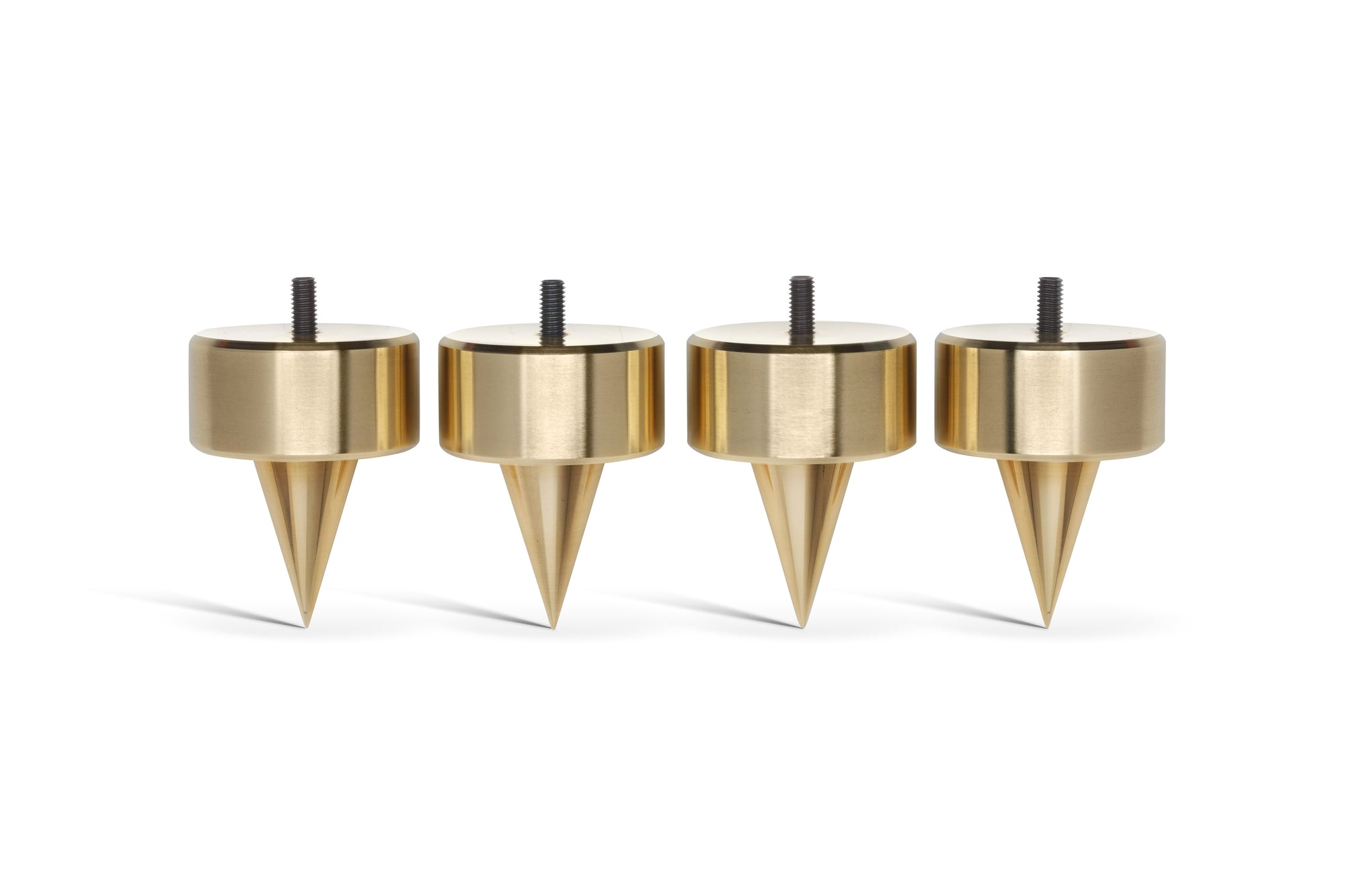 "PUREPOINT® BRASS FOOTERS 2"" DIA X 2⅝"" TALL W/ M6-1 THREADED STUD - FOR DEEP CARPET (SET OF 4)"