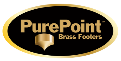 "PUREPOINT™ BRASS FOOTERS 2"" DIA X 2⅝"" TALL W/ M6-1 THREADED STUD - RADIUS TOE (SET OF 4)"